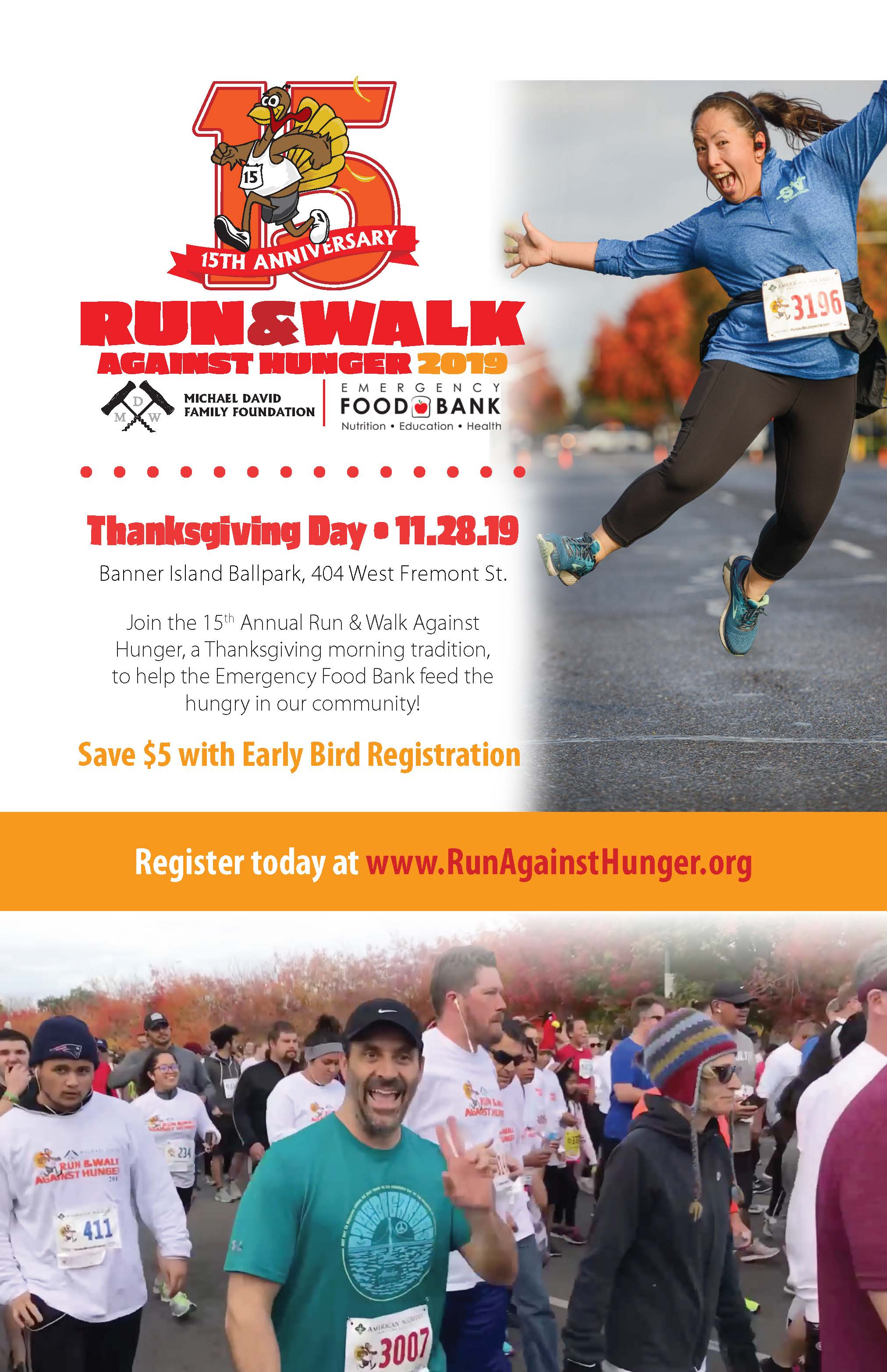 Flyer for 15th Anniversary of the Thanksgiving Run & Walk Against Hunger. Thanksgiving Day. Banner Island Ballpark, 404 W. Fremont St.